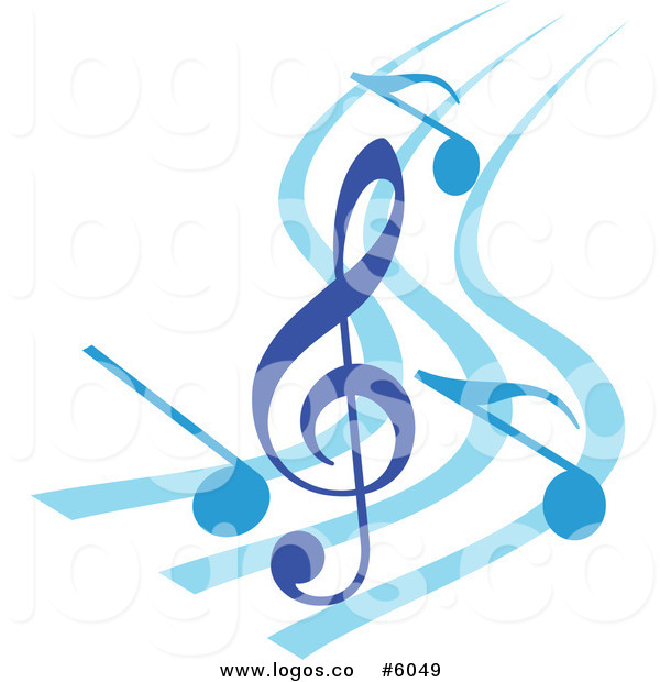 royalty free vector of a logo of a blue music notes and clef on swooshes by seamartini graphics 6049